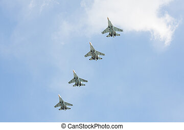 Russian fighters in the sky on the feast of victory day on 9 may