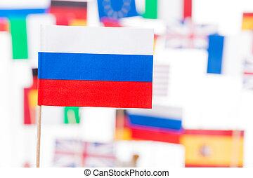 Russian flag against European Union members flags