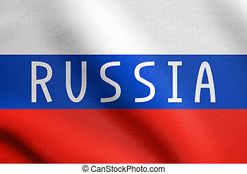Russian flag and word Russia with fabric texture
