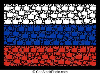 Russian Flag Collage of Thumb Up Items