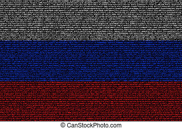 Russian flag composed of dense computer code cybersecurity...