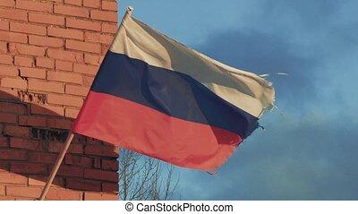 Russian flag fluttering in the wind in slow motion