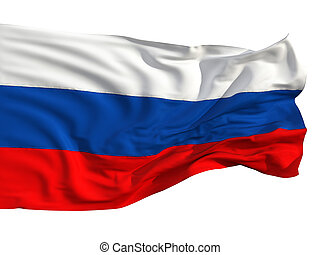 Russian flag, fluttering in the wind.