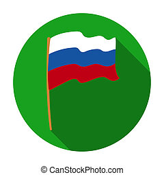Russian flag icon in flat style isolated on white background. Russian country symbol stock rastr illustration.