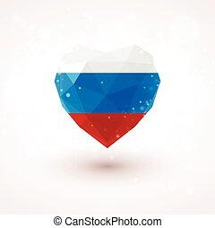 Russian flag in shape diamond glass heart. Triangulation style