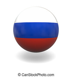 Russian flag - National flag of Russia on sphere isolated on...