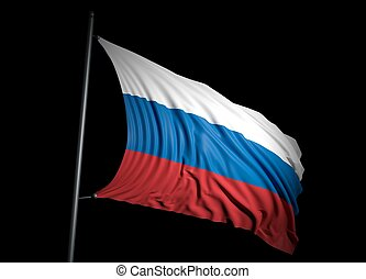 Russian flag on black background