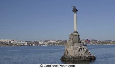 Russian flag on Sunken Ships Monument in Sevastopol
