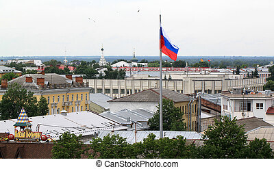 Russian flag on the background
