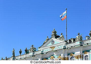 Russian flag on the Hermitage in St. Petersburg, Russia
