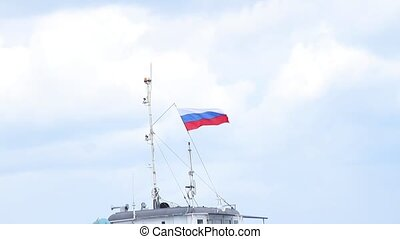 Russian flag on the top of watercrast