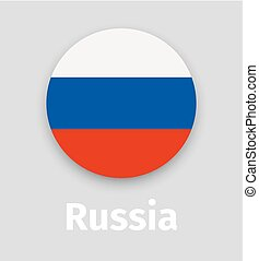 Russian flag, round icon with shadow