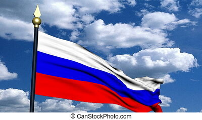 Russian flag - A Russian flag on the background of the sky...