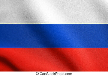 Russian flag waving in wind with fabric texture