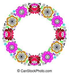 Russian floral wreath pattern - colorful folk art