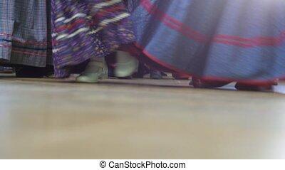 Russian folk dance - girls dancing in national costumes,...