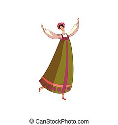 Russian folk dance. Professional dancer on white background.