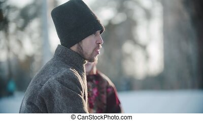 Russian folklore - Russian man having fun on a frosty day outside