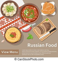 Russian food. Flat Lay Style Illustration.