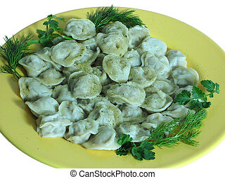 Russian food - Pelmeni - Russian food prepared from meat...