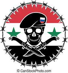 russian special forces and syrian flag. vector illustration