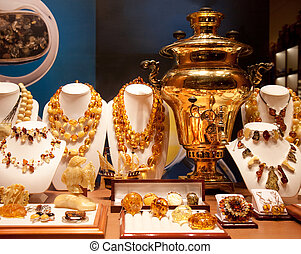 Russian gold samovar in show-window