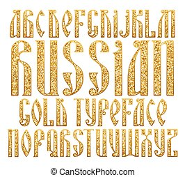 Russian Gold typeface. Latin stylization of Old slavic font....