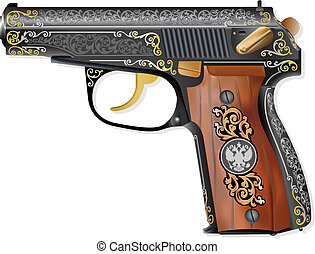 Russian gun PM - Detailed russian pistol scheme isolated on...