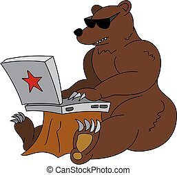 Russian hacker humorous illustration - angry brown bear with laptop