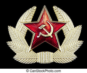 Russian Hammer and Sickle Badge - Pin badge with Russian...