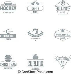 Russian hockey logo set, simple style