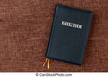 Russian Holy Bible on the table