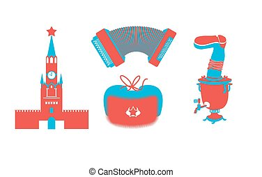 Russian icons silhouette. Traditional Russian folk characters. Moscow Kremlin on Red Square. accordion and samovar. Russian national cap with earflaps