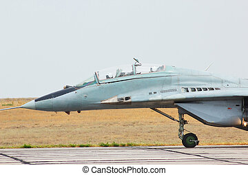 Russian jet fighter MiG-29 at an airdrome