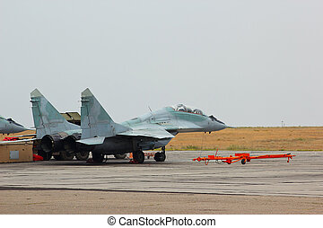 Russian jet fighter MiG-29 at an airfield