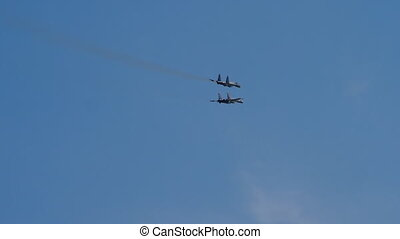Russian jet military aircrafts Flanker-E in combat formation...