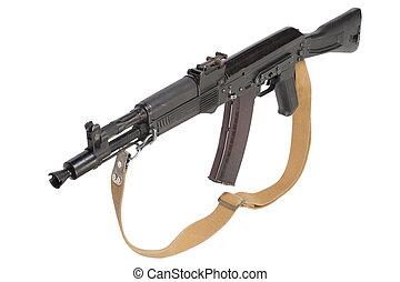 russian kalashnikov AK assault rifle on white