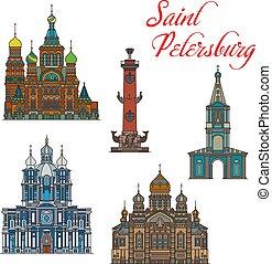 Russian landmark buiding icons, Saint Petersburg