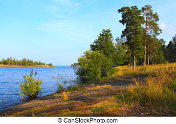 Russian landscape - Beautiful summer landscape on Ladoga,...