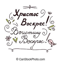 Russian lettering card Christ is risen