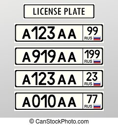 Russian license number plate. Flat style design ,vector ...