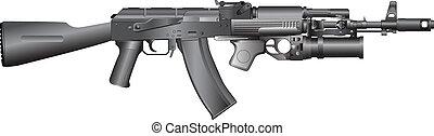 russian machine gun AK-74 GP25 - isolated vector ...