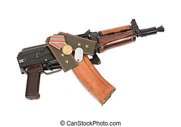 Russian machine gun AKS-74U