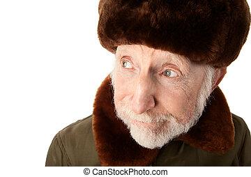 Russian Man in Fur Cap - Senior Russian Man in Fur Cap and...