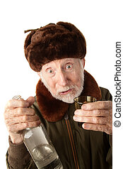 Russian Man in Fur Cap with Vodka - Senior Russian Man in...