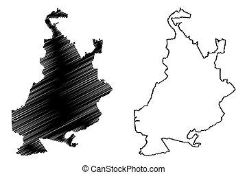 (russian, mapa, kuybyshev, vector, samara, federación,...