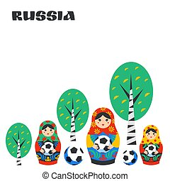 Russian Matrioshka, birch and football ball in flat style....