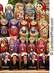 russian matrioshka dolls in baku azerbaijan market