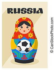 Russian Matrioshka. Greeting card with Russia symbol with...
