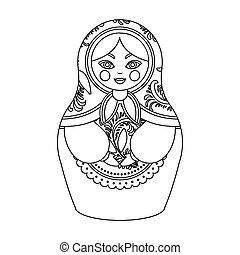 Russian matrioshka icon in outline style isolated on white...